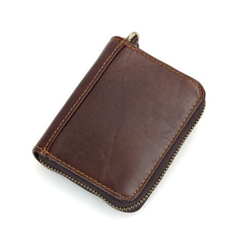 Is Cowhide Leather jmd 100 cowhide leather zipper around wallet coffee rfid blocking card holder r 8117q in