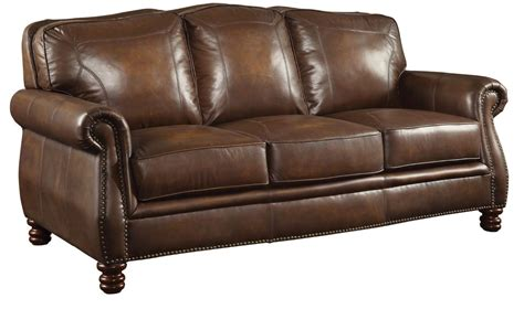 Furniture Leather Sofas by Coaster Furniture Montbrook Brown Leather Sofa 503981