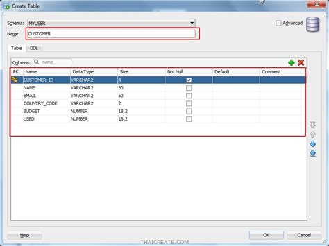 Create Table In Oracle by