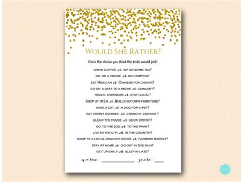 Gold And Glam Bridal Shower Game Package Magical Printable Would They Rather Bridal Shower Template