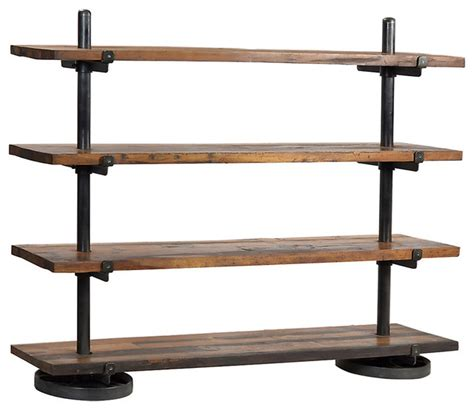 Industrial Steel Rack with Wood Shelf   Industrial