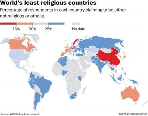 most and least religious cities map these are the world s least religious countries the