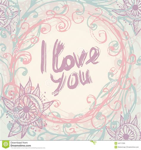 i love you greeting card template in vintage hand