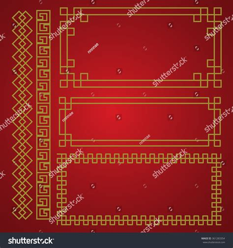 chinese pattern border ai chinese traditional border frame template gold stock