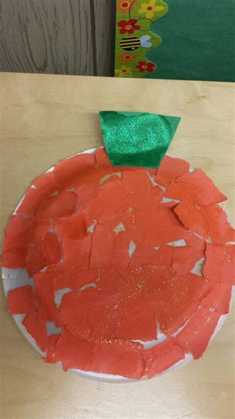 Paper Tearing Craft - pumpkin craft paper tearing activity kid ideas