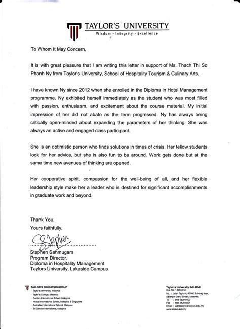 Recommendation Letter Director Recommendation Letters From Program Director