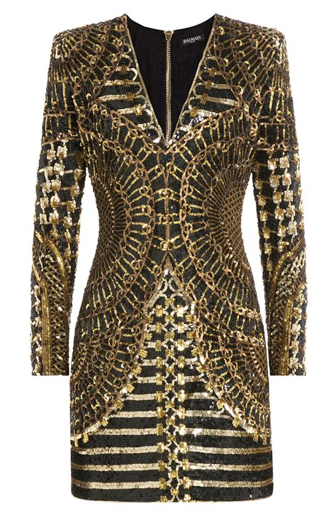 When Its Black Go For Something Embellished by Balmain Sleeve Embellished Mini Dress Black Gold In