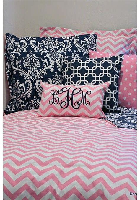 teen girl bed in a bag pink white chevron designer teen dorm bed in a bag