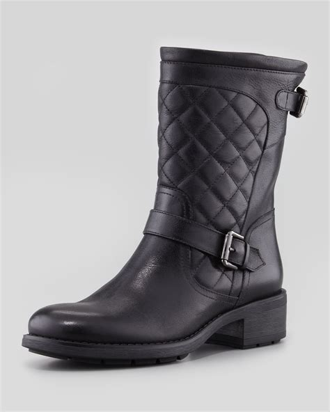 black moto boots short ugg quilted moto boot