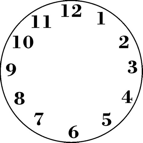 clockface template printable blank clock clipart best