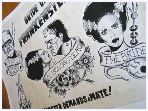 bride of frankenstein tattoo designs frankenstein s bwanadevilart of frankenstein