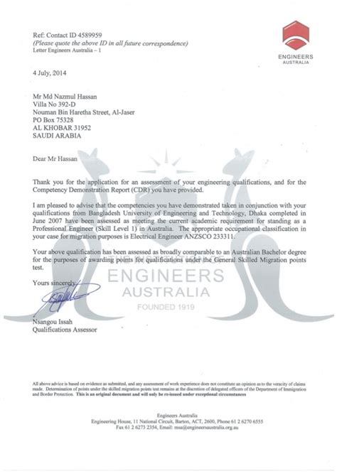 Evaluation Outcome Letter Assessment From Engineers Australia
