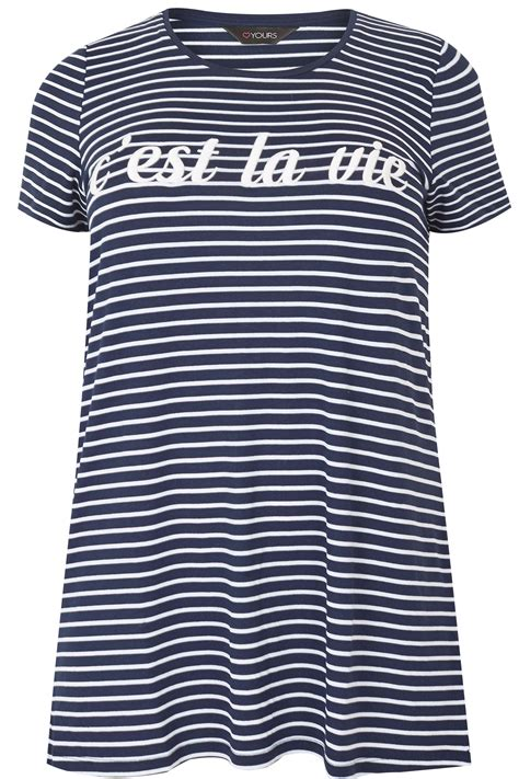 t mobile background check navy white stripe embroidered slogan t shirt plus size
