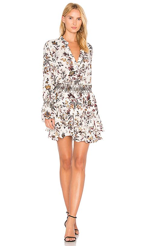 Floral Sleeve Blouson Dress L by A L C Landry Sleeve Blouson Floral Print Silk Dress