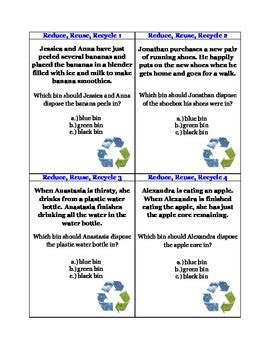 Gift Card Recycle Canada - reduce reuse recycle 40 task cards by easy as abc common core