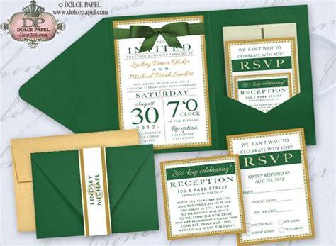 emerald wedding invitations emerald green ivory and gold metallic pocket wedding invitations set 5x7 wedding