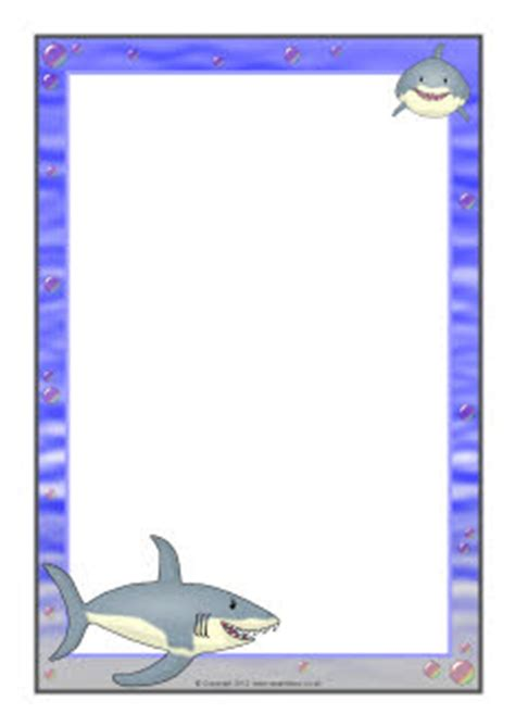 shark writing paper shark a4 page borders sb7461 sparklebox