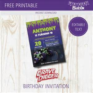 grave digger truck birthday supplies free printable grave digger birthday invitations