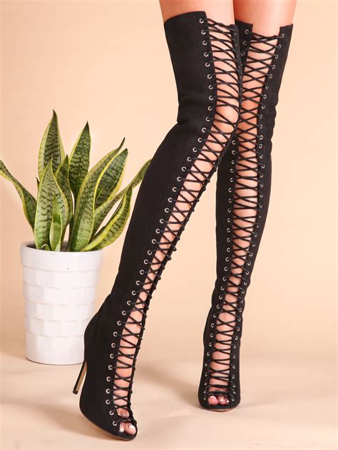thigh high lace boots black criss cross lace up suede thigh high boots