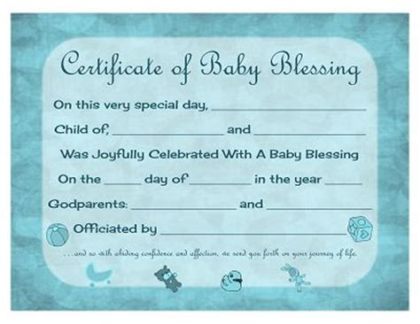 Blessing Card Template by Certificate Of Baby Blessing Free Printable Template