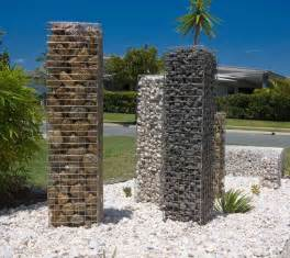 Urban Garden Design Ideas - gabion garden feature stone pillars diy