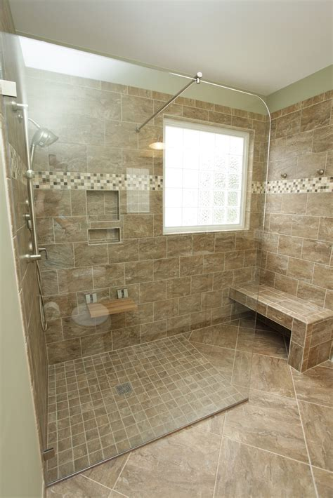 tiled walk in shower with bench shower benches tile bath started out as your traditional