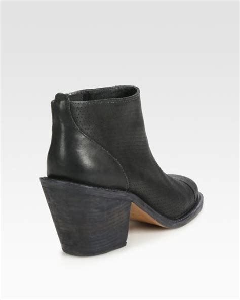 comey boots comey huron perforated leather ankle boots in black