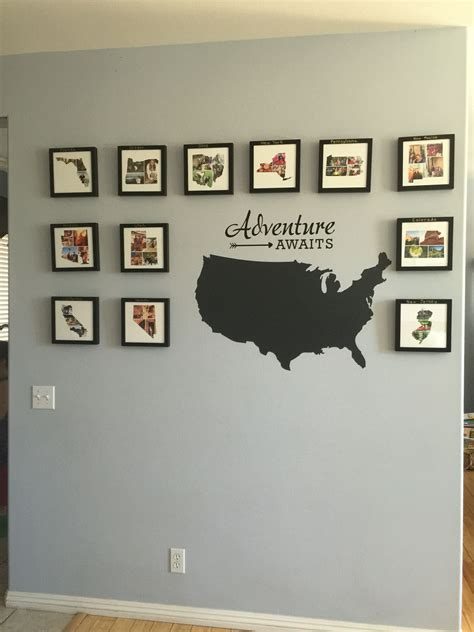 wall collages with photos travel wall photo collages in the shape of each state we