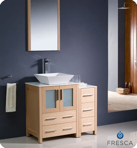 Bathroom Vanity With Side Cabinet Fresca Torino 36 Quot Light Oak Modern Bathroom Vanity With Side Cabinet And Vessel Sink