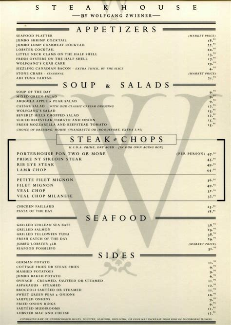 steak house menu dinner menu wolfgang s steakhouse miami fl