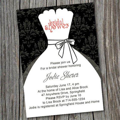 Printable Black And White Bridal Shower Invitations | black and white inexpensive wedding dress bridal shower