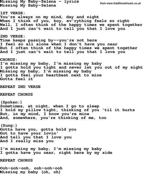 my lyrics selena missing my baby lyrics songlyricscom auto design tech