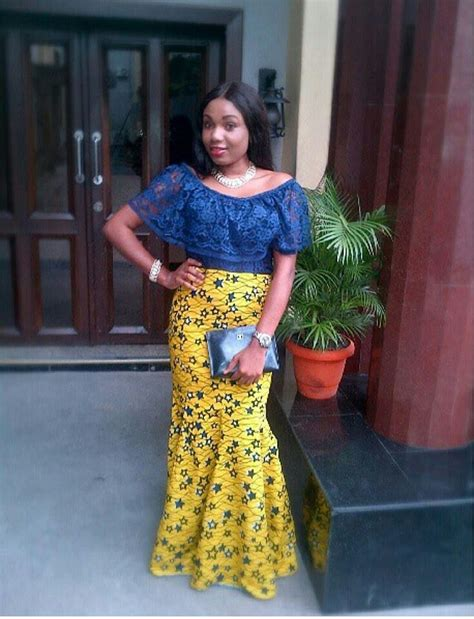 ankara african dress with lace love the top ankara lace styles pinterest