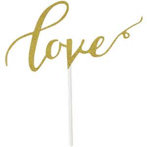 Wholesale Home Decor And Gifts Cake Topper Gold Glitter Calligraphy Love