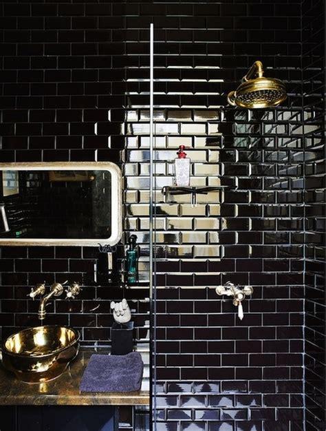 black subway tile glossy black subway tile shower bathrooms pinterest