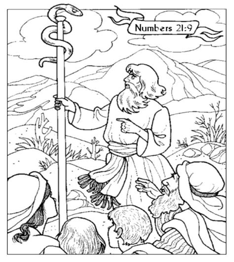bronze snake coloring page moses staff coloring page coloring pages