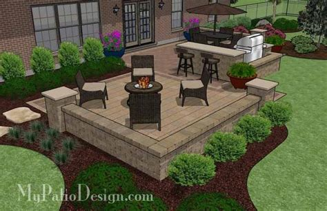 Patio Grill Designs Contrasting Paver Patio Design With Grill Station Bar 665 Sq Ft Mypatiodesign