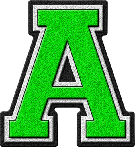 presentation alphabets green varsity letter a