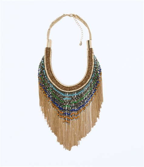 Fringe Necklace zara fringe necklace in gold only one lyst