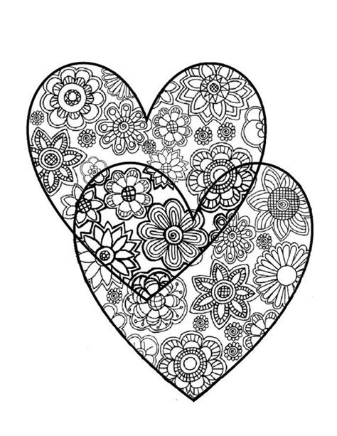 coloring pages for adults hearts two hearts love adult coloring page instant digital