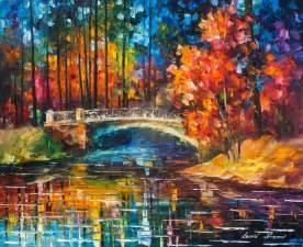 flowing the bridge by leonid afremov by leonidafremov on deviantart