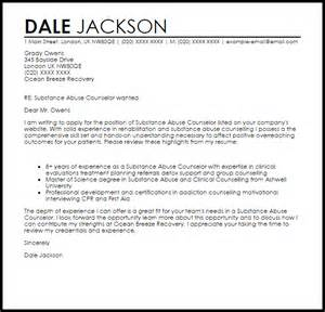 Addiction Counselor Sle Resume by Substance Abuse Counselor Cover Letter Sle Livecareer