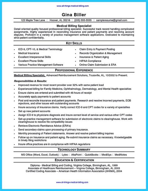 resume cover letter sles for billing and coding exciting billing specialist resume that brings the to you