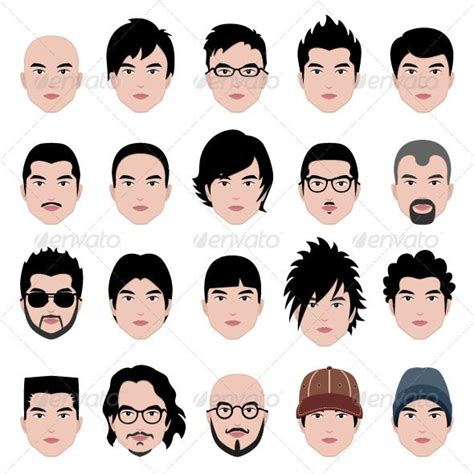 cartoon hairstyles vector male man hair hairstyle graphic design illustration