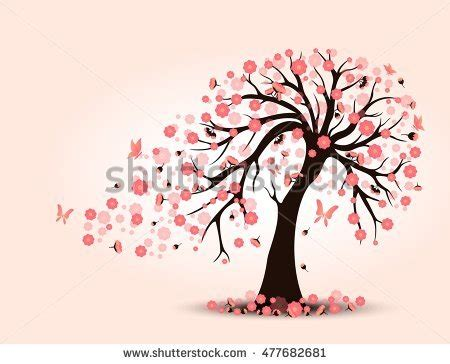 cherry tree vector silhouette cherry trees butterfly vector stock vector 230760511