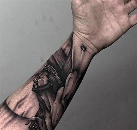Tattoo Jesus Forearm | 100 jesus tattoos for men cool savior ink design ideas