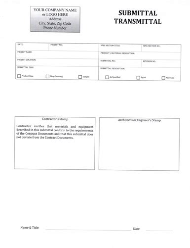 construction submittal form template submittal transmittal form 5 99 now