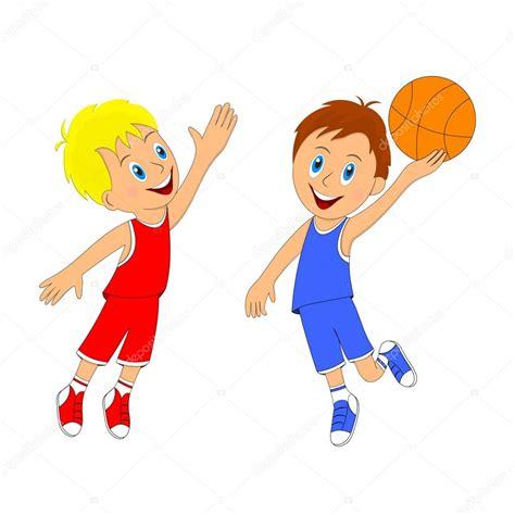 dibujos niños jugando baloncesto ni 241 os dos muchachos jugando baloncesto vector de stock