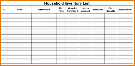 packing inventory list template moving inventory list or home inventory template for your