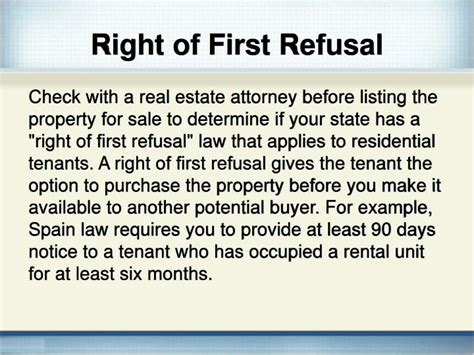 Ppt Does The Landlord Have To Tell A Tenant That He Is Selling A Rental Home Powerpoint Right Of Refusal Template Real Estate